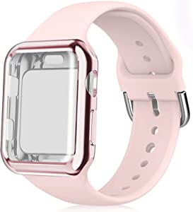 Huishang Compatible for Apple Watch Bands 38mm 40mm 42mm 44mm Women Men with Screen Protector Case,Soft Silicone Sport Replacement Wristband for iWatch Series SE 6 5 4 3 2 1(Light Pink)