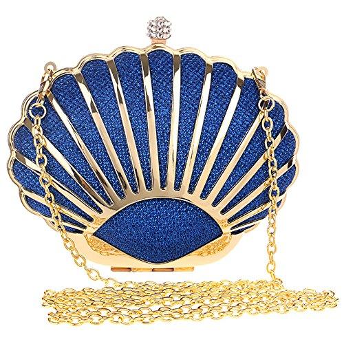 Pour Main Strass Métal Fête Sac Forme Sacs Bal Blue Embrayages Poignets De Chaîne Femmes Bandoulière De La En Décoration Sacs En à Dames Coquille Soirée xgPcw4EU