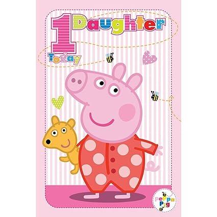 Peppa Pig Edad 1 tarjeta de cumpleaños para hija: Amazon.es ...