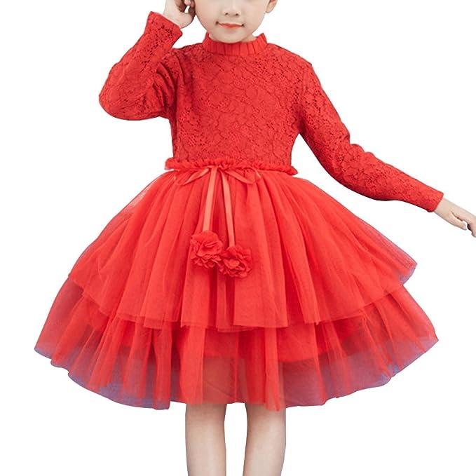 YoungSoul Vestidos fiesta niñas con falda de tul, Vestido de encaje floral manga larga invierno