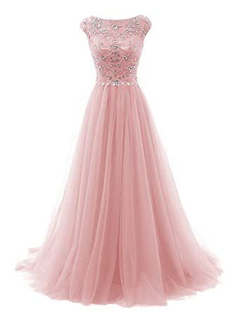 Amazon.com: FASHION DRESS Women\'s Beads Long Prom Dress Tulle Cap ...