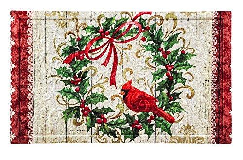 Evergreen Garden 41EM2204 Cardinal Holly Wreath Embossed Floor Mat Door, Multicolor