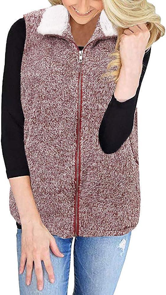 Lazzboy Women Gilet Waistcoat Jacket Vest Sherpa Winter Fluffy Fleece Flannel Warm Coat Oversized Plus Size,UK 10-22