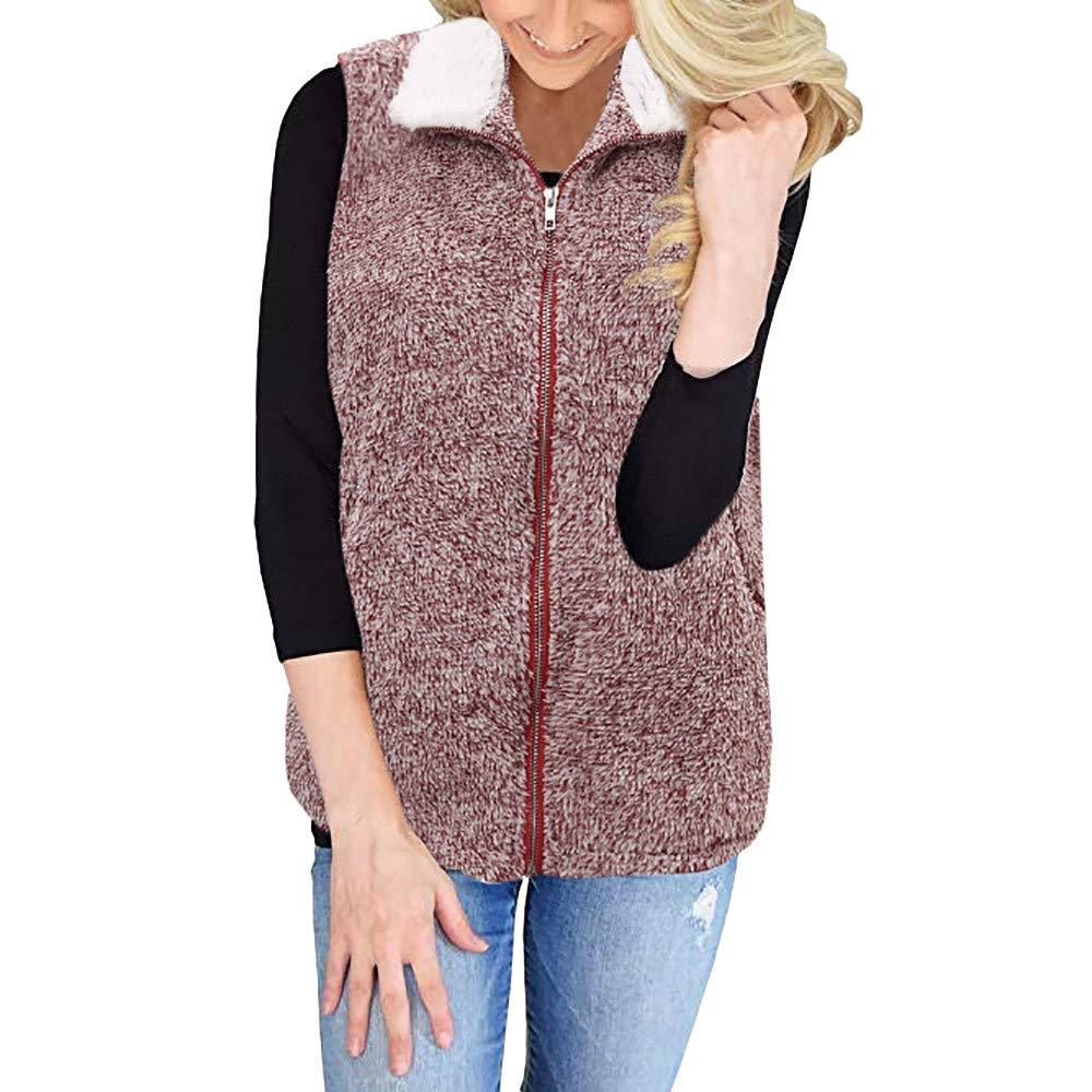 Lazzboy Womens Gilet Waistcoat Jacket Vest Sherpa Winter Fluffy Fleece Flannel Warm Coat Oversized Plus Size,UK 10-22