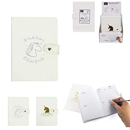 Agenda perpétuel unicornio 12,5 x 17,6 cm, 100 páginas ...