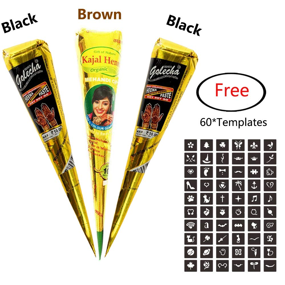 3Pcs Temporary India Paste Cone Tattoo Set Temporary Tattoo Body Art and Painting Bundle Natural Organic Fresh Authentic Ink Paste with 60Pcs Free Stencil Designs MANGOIT