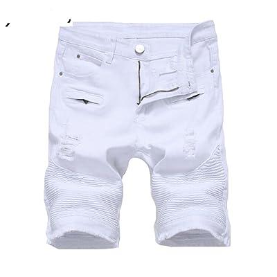 WAWAYA Mens Ripped Ankle Distressed Casual Cargo Denim Pants Jeans