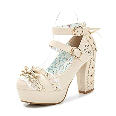 34a0003135 Japanese Style Sweet Bow Lace Princess Lolita Shoes Lace-up High Heel  Buckle Strap Thick