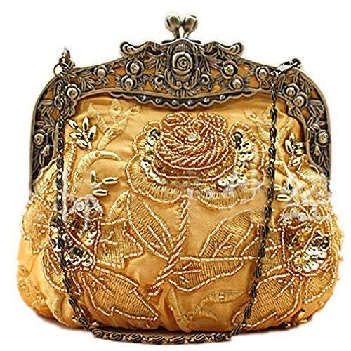 Belsen Women's Vintage Beaded Sequin Flower Evening Handbags (Gold)