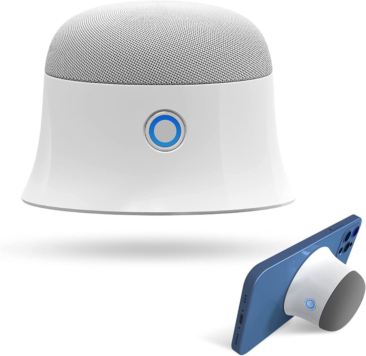 Mini Magnetic Bluetooth Speaker, Small Shower Speaker, Extra Bass Wireless Portable Speaker MagSafe Bluetooth Speaker Compatible with iPhone 12/12 Mini/12 Pro/12 Pro Max (White)
