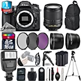 Holiday Saving Bundle for D7100 DSLR Camera + 18-105mm VR Lens + Backup Battery + Backpack + 1yr Extended Warranty + Ultra Fast 16GB Class 10 + Flash + 0.43X Wide Angle Lens - International Version