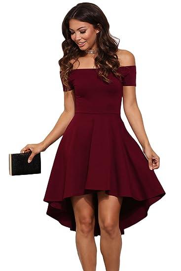 ebad532b0974 Betty-Boutique Burgundy All The Rage Skater Dress Size 12-14  Amazon.co.uk   Clothing