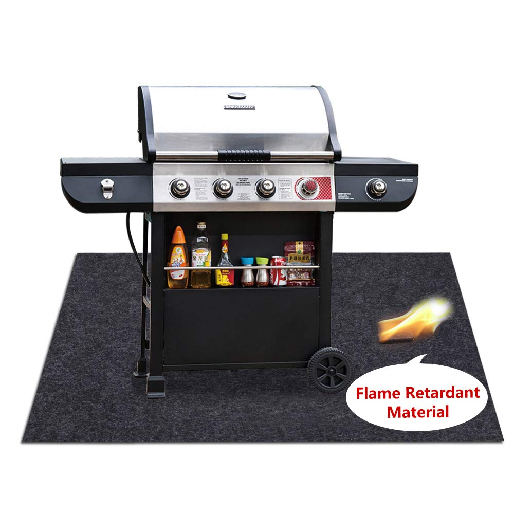 Under Grill Mats,BBQ Grilling Gear for Gas,Absorbing Grill Pads,Durable Washable Floor mat Protect Decks and patios from Grease Splatter and Other Messes (Grill Mats 37.4'' x 48'')