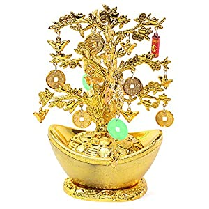 "9"" Feng Shui Gold Coins Money Tree in Yuan Bao Home Decor Wealth Gift US Seller"