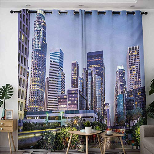 AndyTours Curtains for Bedroom,City,Los Angles California Skyline Urban USA Cityscape Skyscrapers Highway Avenue Trees,Great for Living Rooms & Bedrooms,W84x108L,Multicolor]()