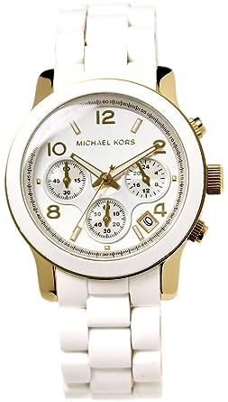 ded2266e62d4 [マイケルコース]MICHAEL KORS 腕時計 クロノグラフ シルバー×ホワイト×ゴールド ラバーベルト