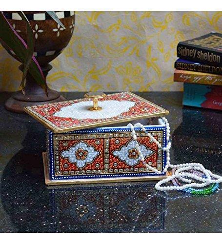 eCraftIndia Marble Multicolored Jewellery Box (LxWxH - 7INx5INx4IN)