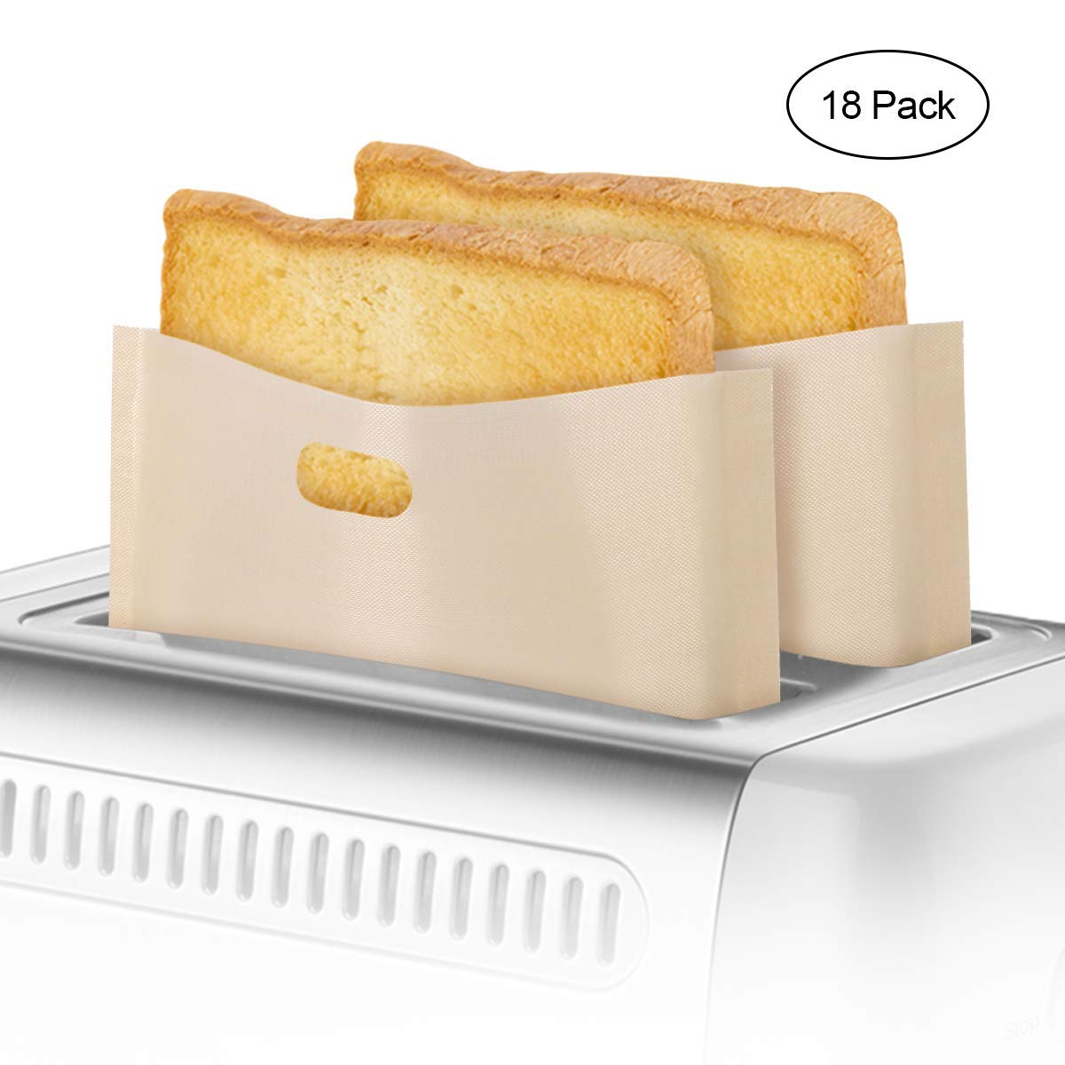 3 Sizes 18 Pack Toaster Bags Non-Stick Reusable Toaster Grilled Cheese Bags FDA Approved Food Grade Teflon Toaster Bags for Grilled Cheese Sandwiches, Chicken, Nuggets, Panini and Garlic Toasts by Makerfun