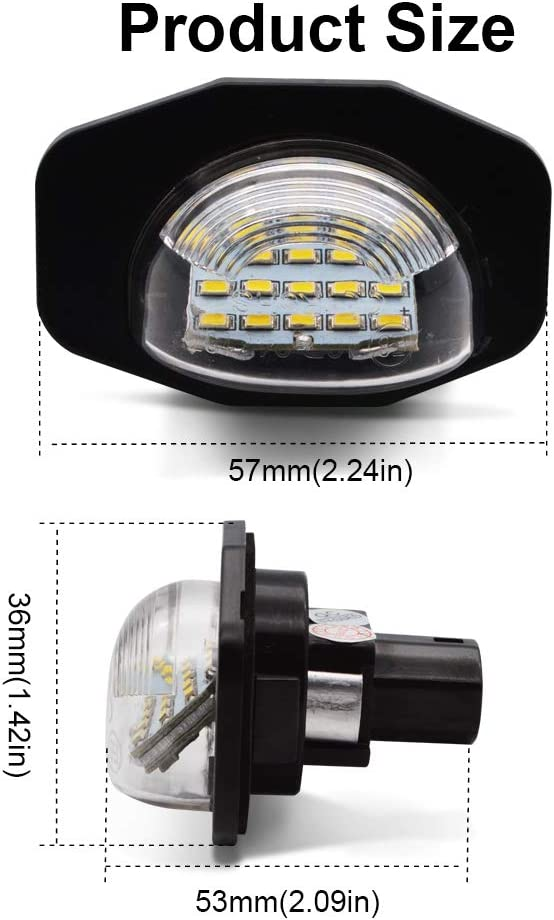 LED License Plate Light Safego 2Pcs 3W 12V 18SMD White Rear License Tag Lights Rear Number Plate Lamp Direct Assembly Replacement for TOYOTA COROLLA//ALPHARD//AURIS//WISH//SIENNA//URBAN CRUISER