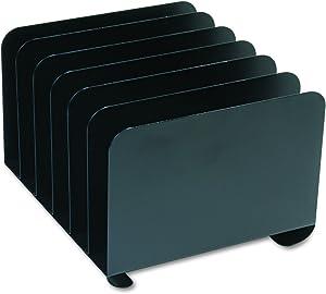 MMF Industries SteelMaster 2646BLA Desktop Vertical Organizer, Six Sections, Steel, 12 x 11 x 8 1/8, Black