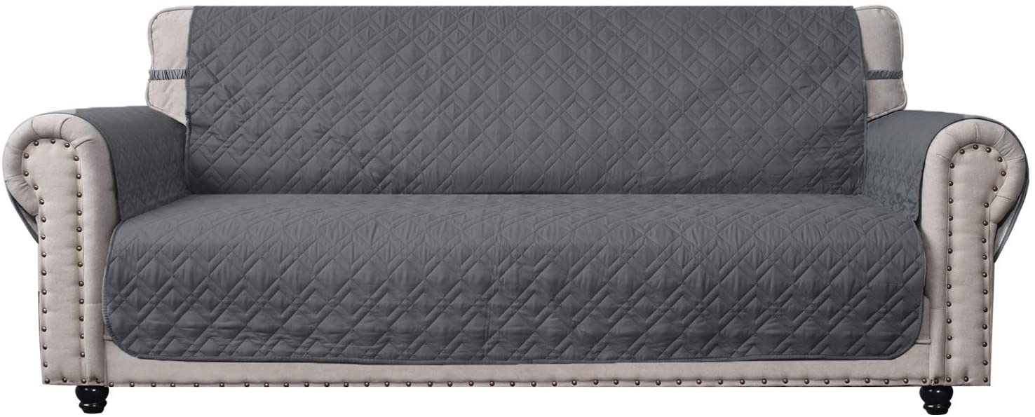 """Ameritex Couch Sofa Slipcover 100% Waterproof Nonslip Quilted Furniture Protector Slipcover for Dogs, Children, Pets Sofa Slipcover Machine Washable (Dark Grey, 78"""")"""