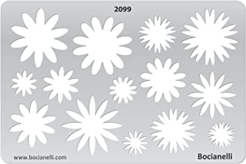Bocianelli Plastic Stencil Template for Graphical Design Drawing Drafting Jewellery Making - Spring Flower Flowers