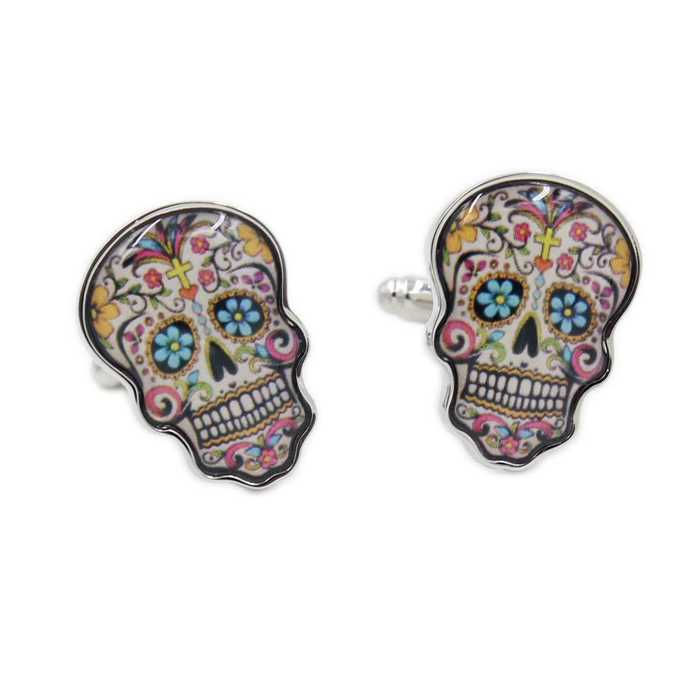 Day Of The Dead Skull Cufflinks Shirt Cuff Links Vodafor UK_B075R1DKTQ