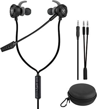 Auriculares Gaming in-Ear con Cable Cancelación de Ruido Stereo Radio Headphone con Micrófono Earbuds con Adaptador de PC para PS4 Computer Laptop Smartphone: Amazon.es: Electrónica
