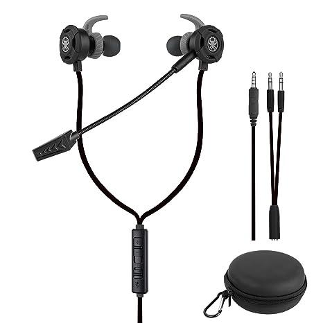 Samoleus In Ears Kopfhörer mit Verstellbarem Mic, 3.5MM Wired Earbuds Gaming Earphones Ohrhörer mit 3 Pairs Different Sizes E