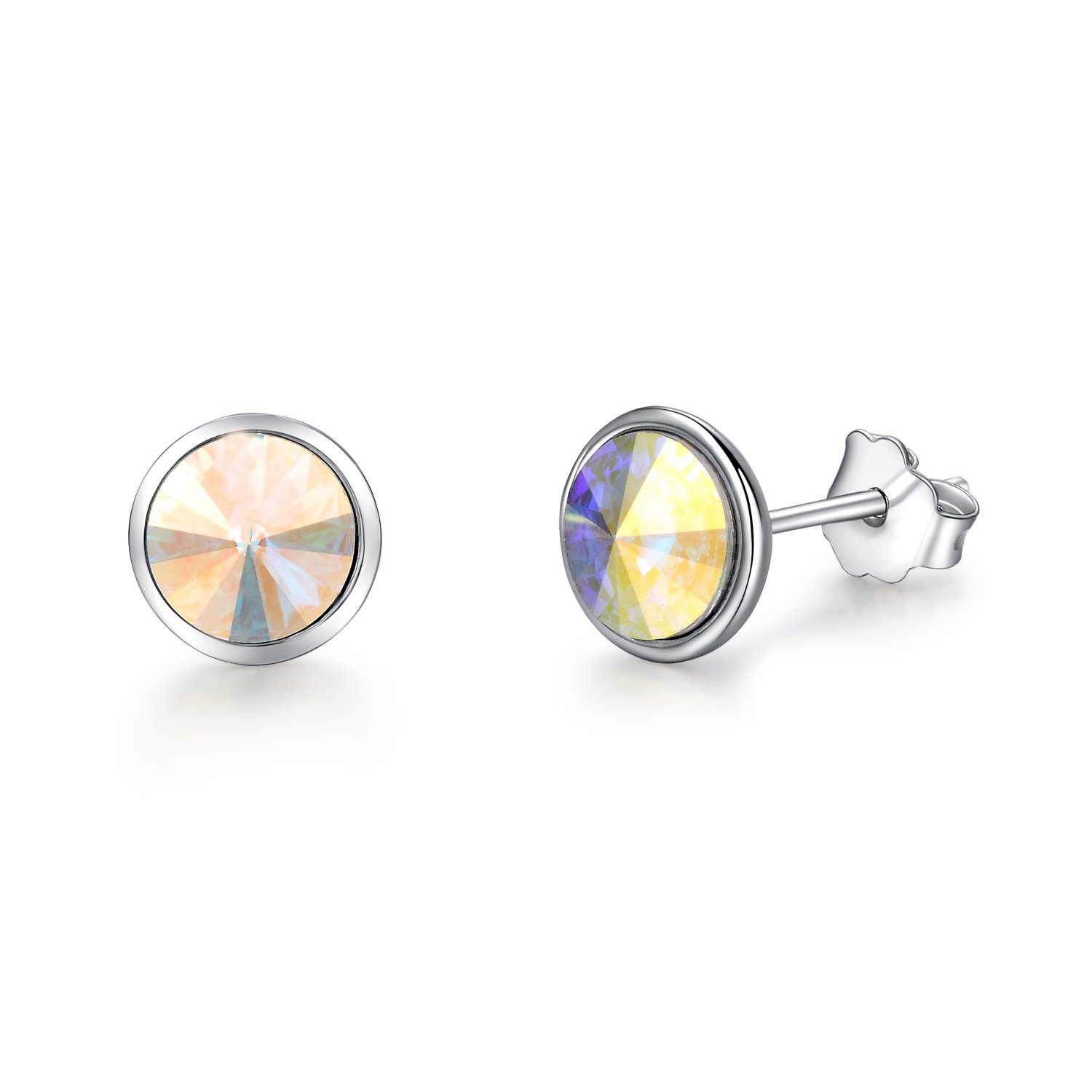 925 Sterling Silver Round Shaped Stud Earrings AB SWAROVSKI ELEMENTS NA13