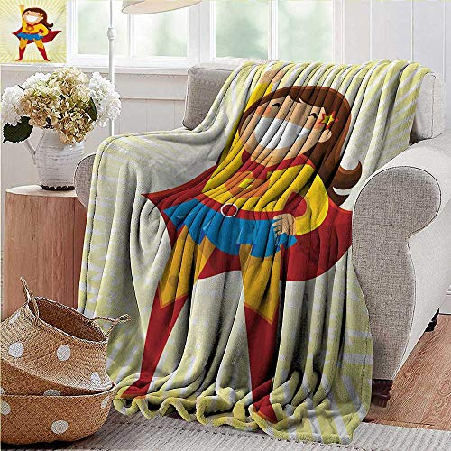 PearlRolan Cool Blanket,Superhero,Courageous Little Girl with a Big Smile in Costume Standing in a Heroic Position,Multicolor,300GSM,Super Soft and Warm,Durable Throw Blanket 35