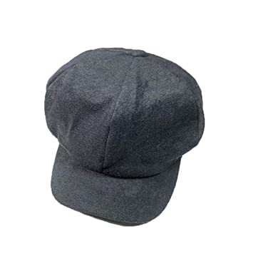 Amazon.com   Seamount Women Men Autumn Winter Cashmere Button Hat Baseball  Cap with Earmuffs Peaked Cap (Black)   Beauty 8eabecc65cb