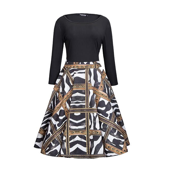 Honwenle Vintage Women Patchwork Round Neck Animal Print Wear to ...