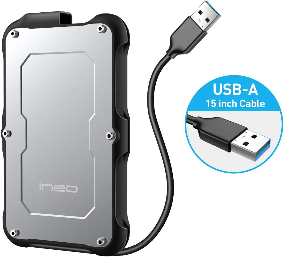 ineo 2.5 inch USB 3.0 Type A Rugged Waterproof & Shockproof External Hard Drive Enclosure for 2.5 inch 9.5mm & 7mm SATA HDD SSD [T2580]