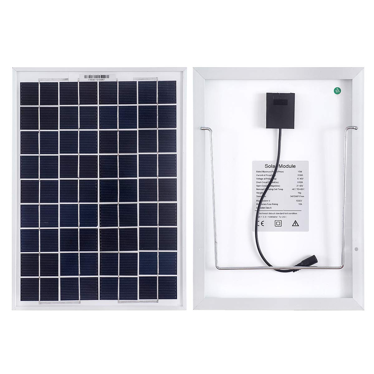 MEGSUN 10W 12V Mono Solar Panels for Cars, Caravans, Campers, Boats-with a 5m Crocodile Clip-Solar Panels with Supports