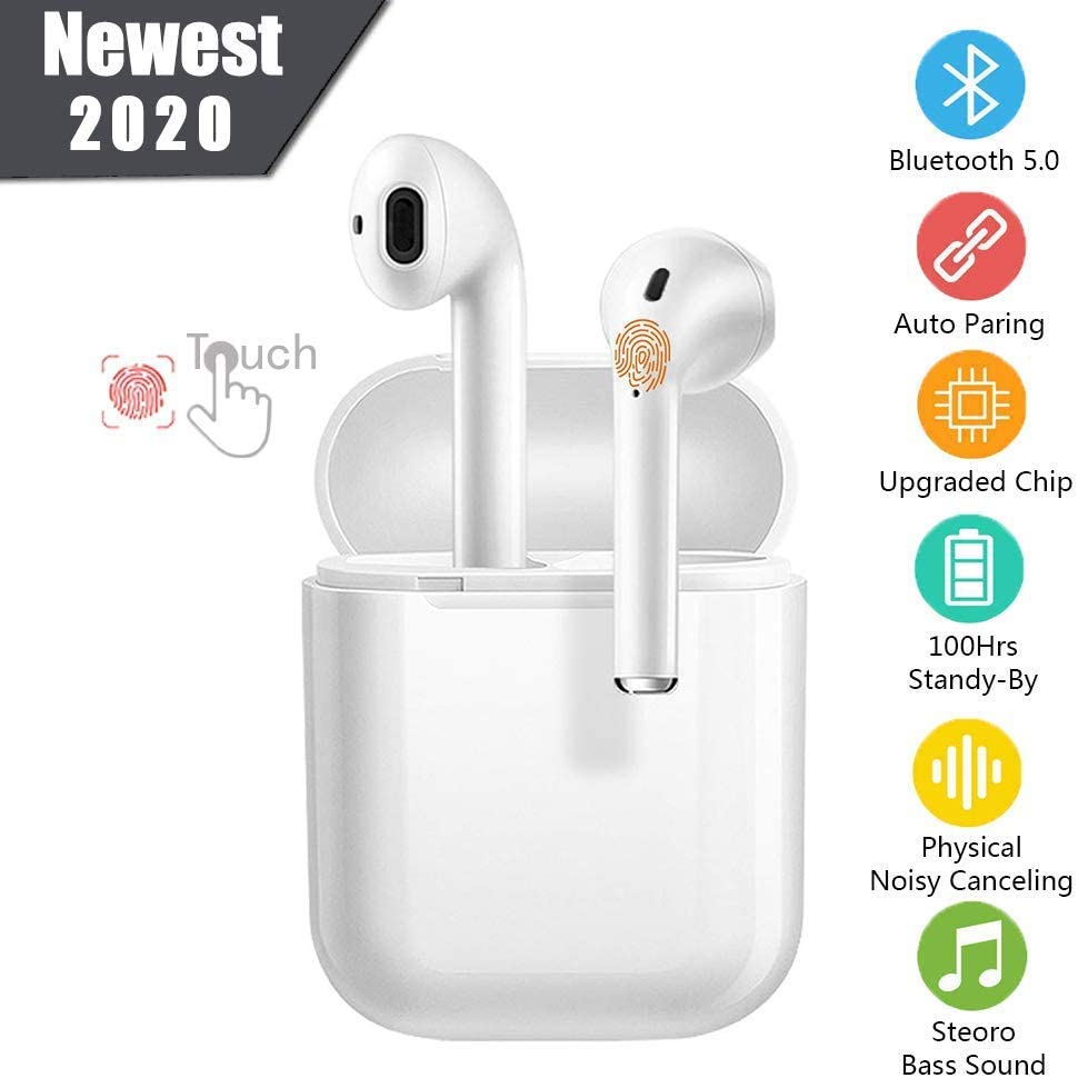 2020 I12 Auriculares Inalámbricos Bluetooth 5.0, Auriculares Bluetooth Deportivos IPX5 Impermeable, In-Ear TWS Cascos Bluetooth Inalámbricos con Microfono Dual y Caja de Carga para All Smartphones PC