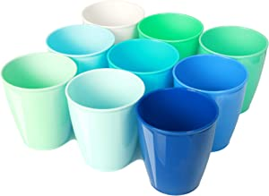 Youngever 8 Ounce Kids Cups, 9 Pack Kids Plastic Cups in 9 Coastal Colors, 8 Ounce Kids Drinking Cups, Toddler Cups, Cups for Kids Toddlers, Unbreakable Toddler Cups