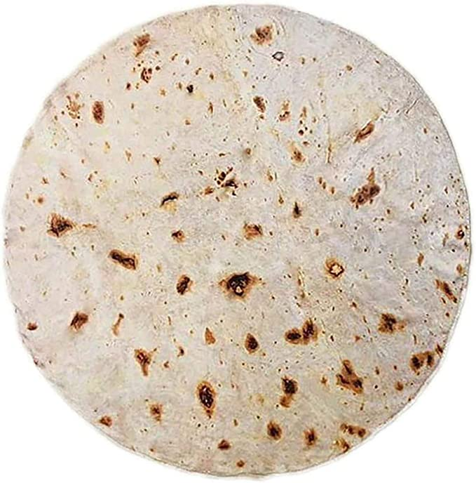 Burrito Tortilla Blanket Perfectly Round Novelty Blanket To Be A Giant Human Burrito Throw Food Creation Wrap Blanket For Bed Sofa Picnic Beach Travel Office Aircraft Kitchen Dining Amazon Com