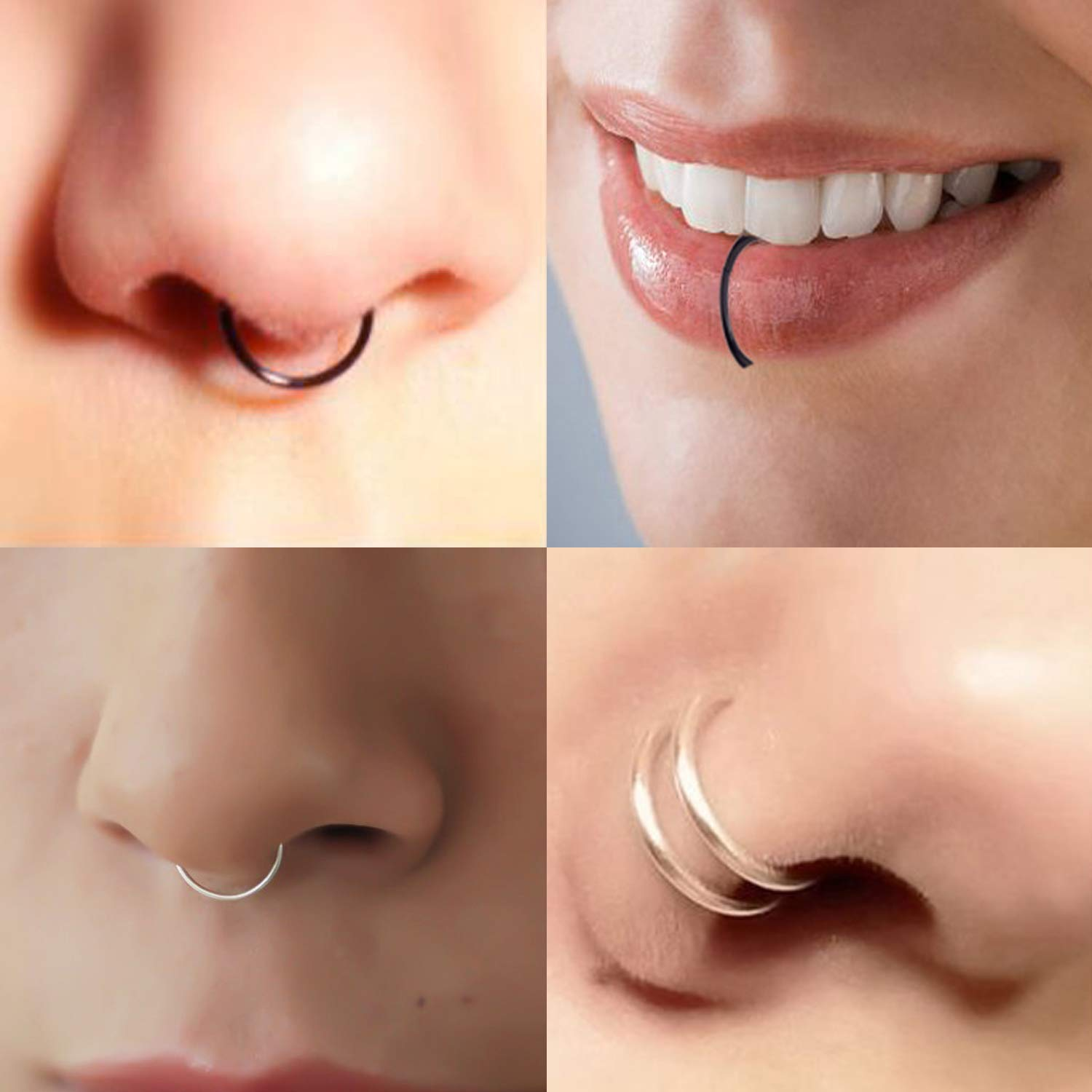 Misscat 40pcs Surgical Steel Lip Ear Nose Hoop Ring Clip Fake Septum Clicker Non Piercing Jewelry