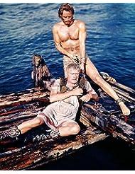 Jack Hawkins Charlton Heston Barechested Hunky on Raft Ben-Hur 8x10 Promotional Photograph