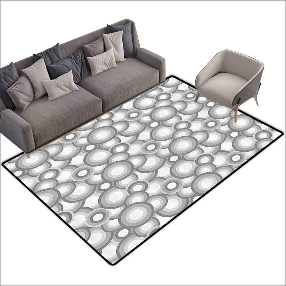 Soft Area Children Baby Playmats Abstract,Various Sized Balls Spiral Circular Formed Round Figures Retro Stylized Art Image,Grey White 60''x 96'',All Weather mats