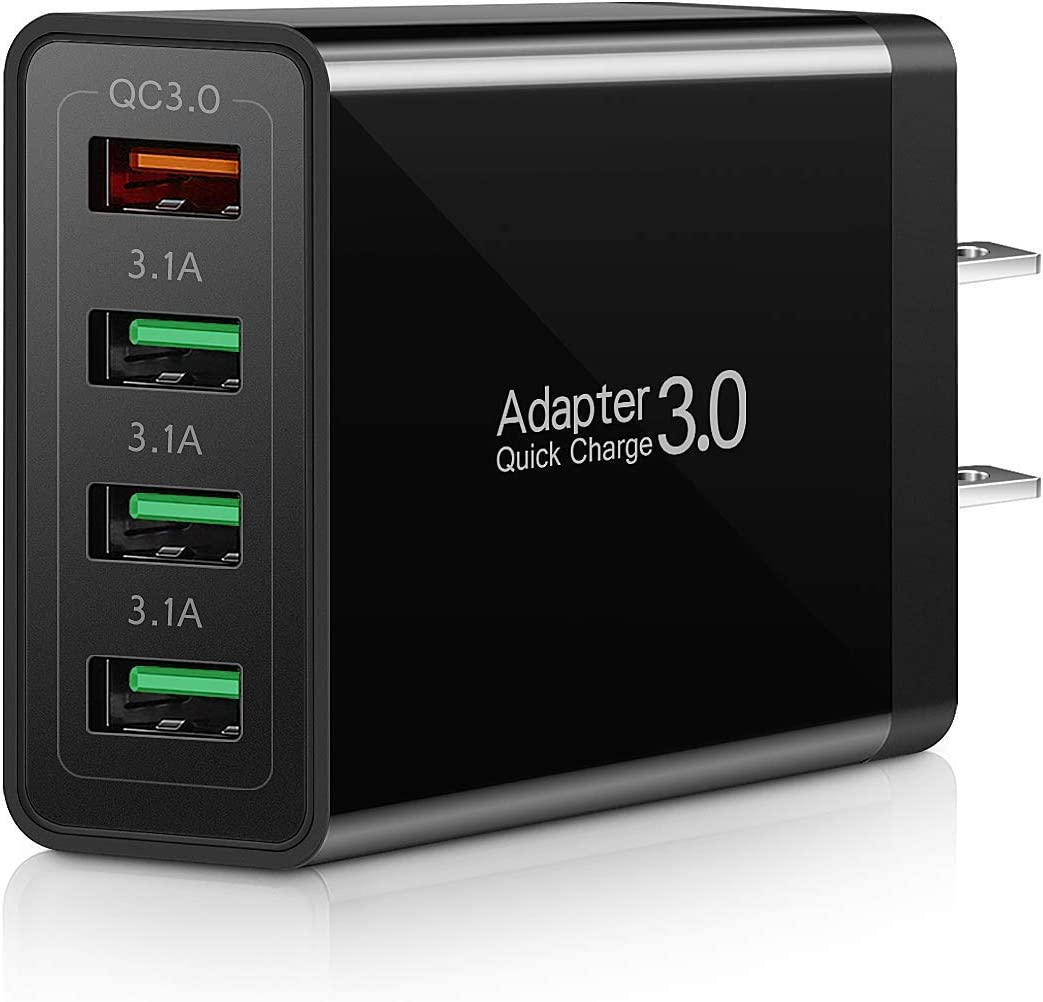 QC 3.0 Wall Charger, 4-Ports USB Wall Charger, iSeekerKit QC 3.0 Charger with Fast USB Adaptive Adapter Block Compatible 10W Wireless Charger Galaxy S9 S8 Note 8 9,Tablet,iPhone,iPad