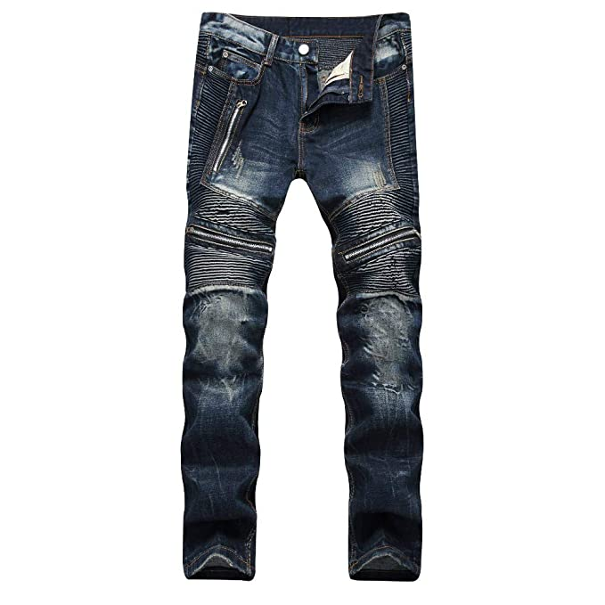 Liuhond Slim Fashion Mens Ripped Straight Holes Hip Hop Biker Stretchy Jeans