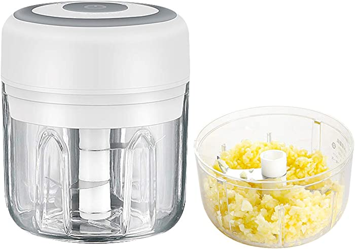 TastLi Electric Mini Garlic Chopper, Cordless Portable Blender Small Food Processor/Masher/Mincer/Grinder, with 250 ML Cups, USB Rechargeable