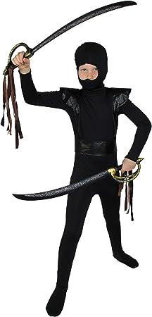 FOXXEO Disfraz de Ninja Negro Rojo para niños Disfraz de Ninja ...