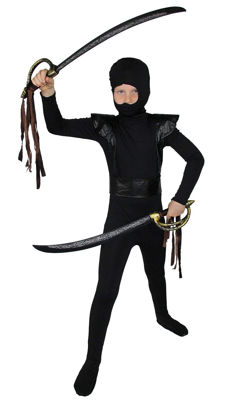 FOXXEO Disfraz de Ninja Negro Rojo para niños Disfraz de ...