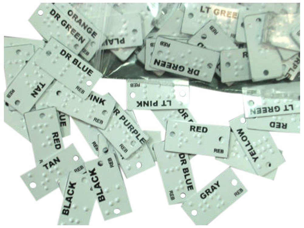 Braille Clothing Tags; Colors