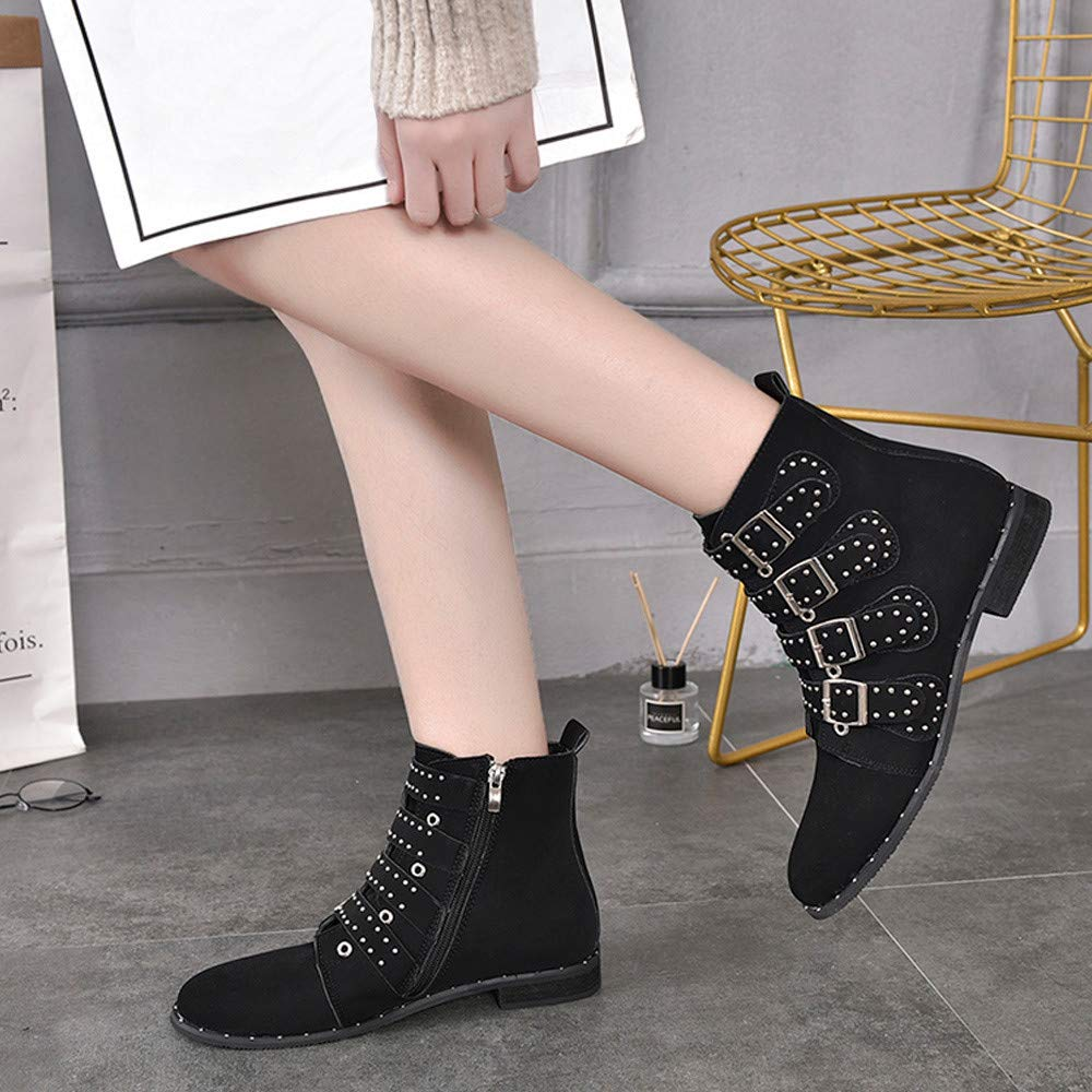 GoodLock Women Fashion Zipper Ankle Boots Ladies Short Solid Color Suede Booties Shoes Boots