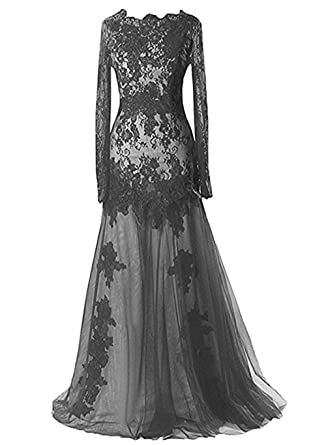 Amazon Romoo Womens Black Gothic Wedding Dress Lace Mermaid