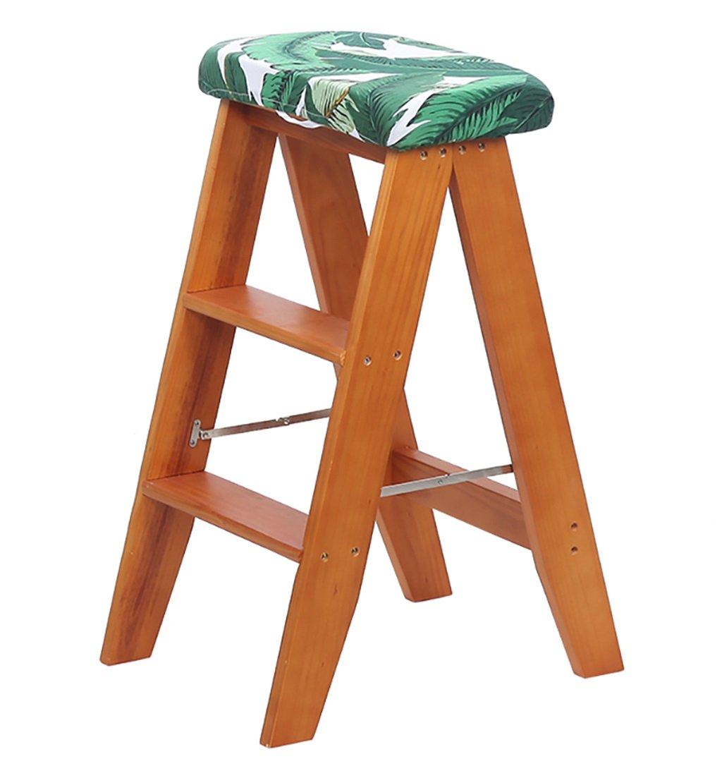 CAIJUN 折りたたみ椅子多目的キッチンポータブルソリッドスモールラダースツール3段シートカバー付き、3色 ステップ (色 : Light walnut, サイズ さいず : 1#) B07DN4G21W 1#|Light walnut Light walnut 1#